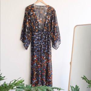 Anthropologie Chiffon Floral Duster Kimono Dress